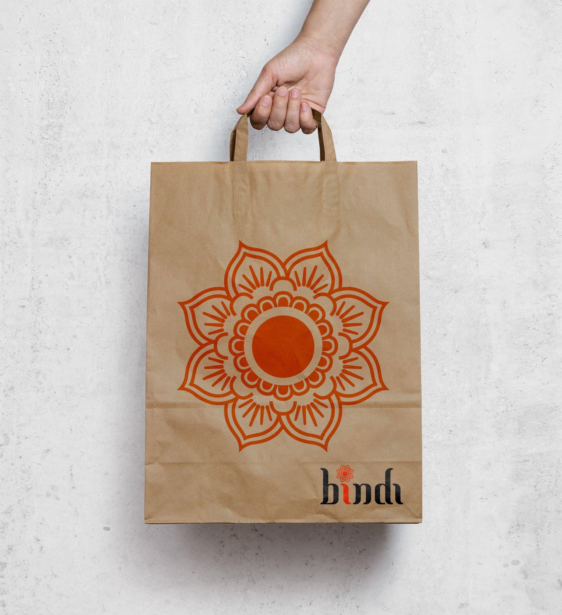 Bindi art on a paper bag