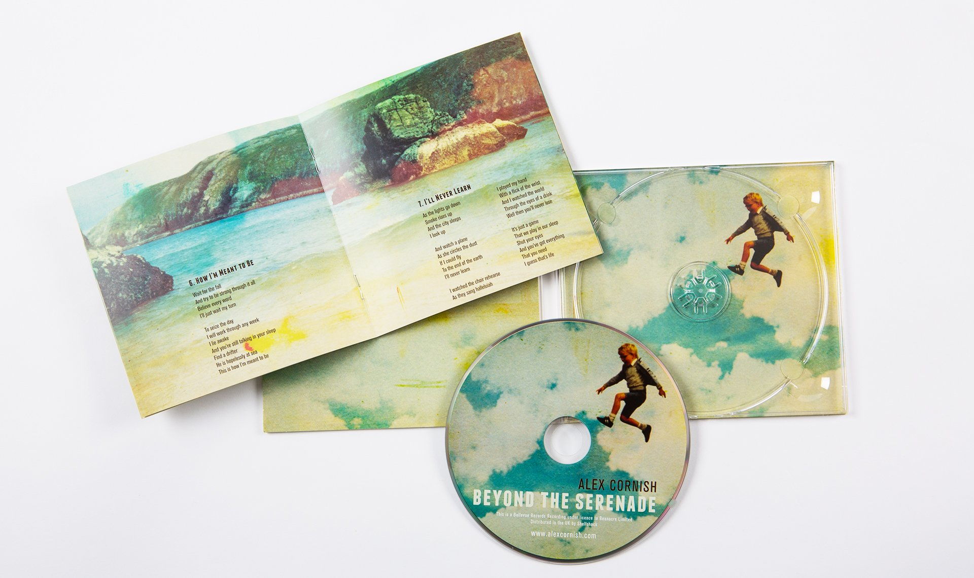 Alex Cornish CD Artwork depicts Alex as a young boy jumping into the air