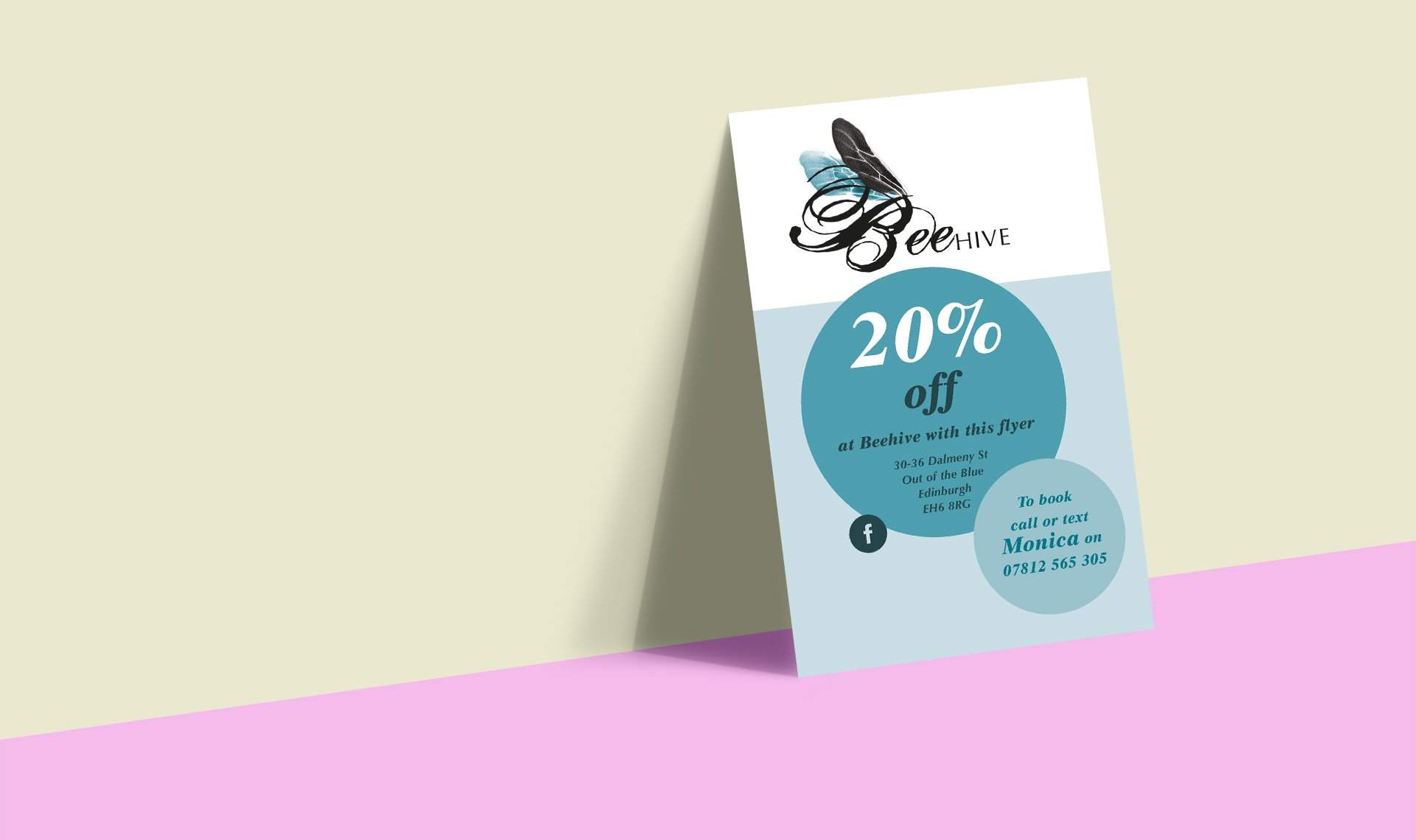 Beehive salon's designed leaflets for 20% off a cut, colour or style