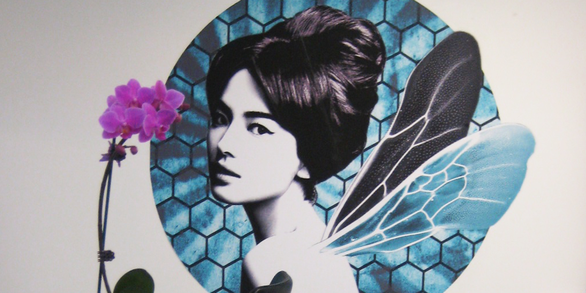 Beehive Salon Edinburgh Wall art of model with a beehive hairstyle and insect wings protruding from back