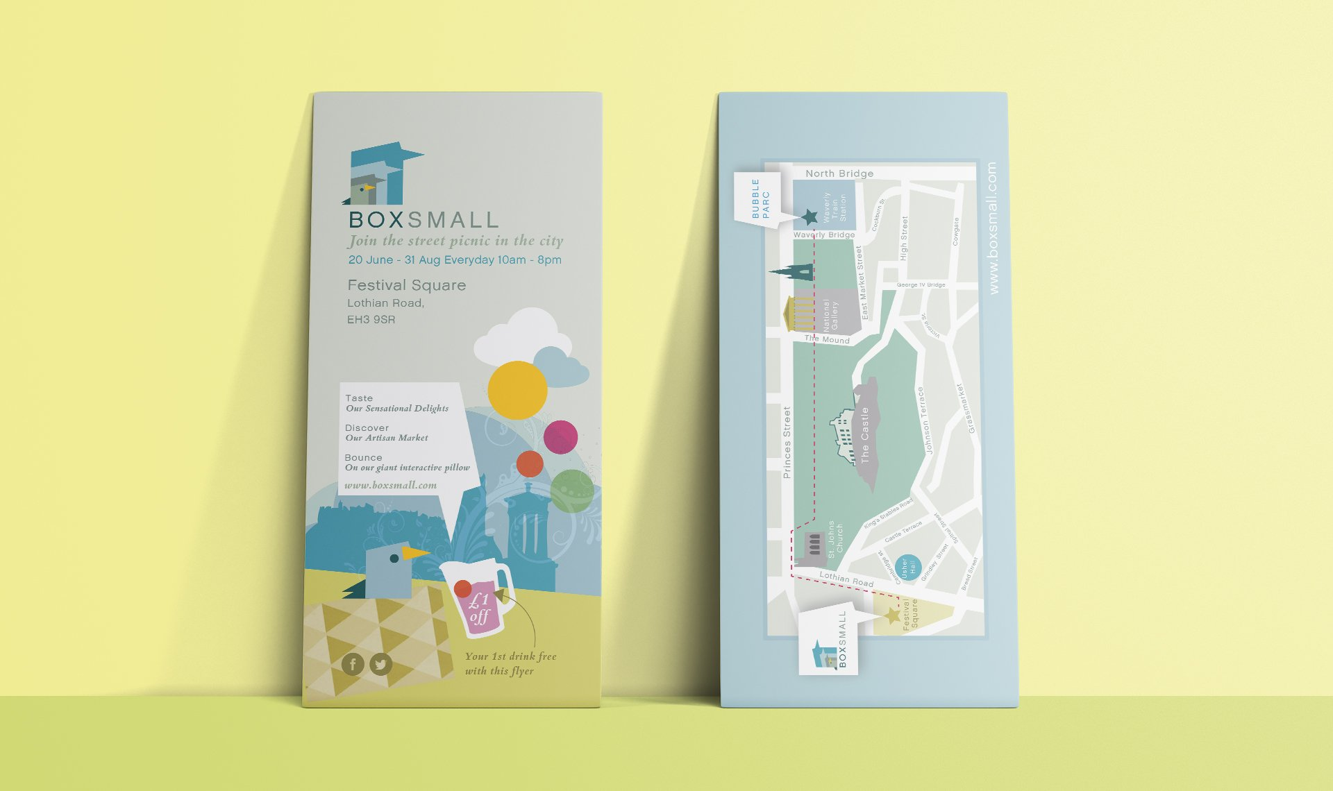 BoxSmall Leaflets with map of location