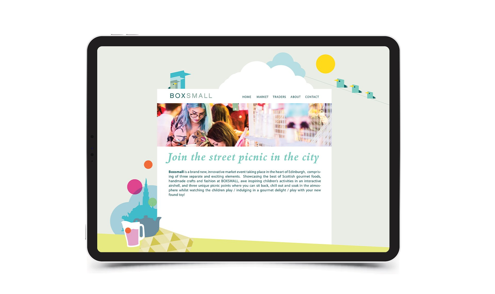 BoxSmall website viewed on an iPad