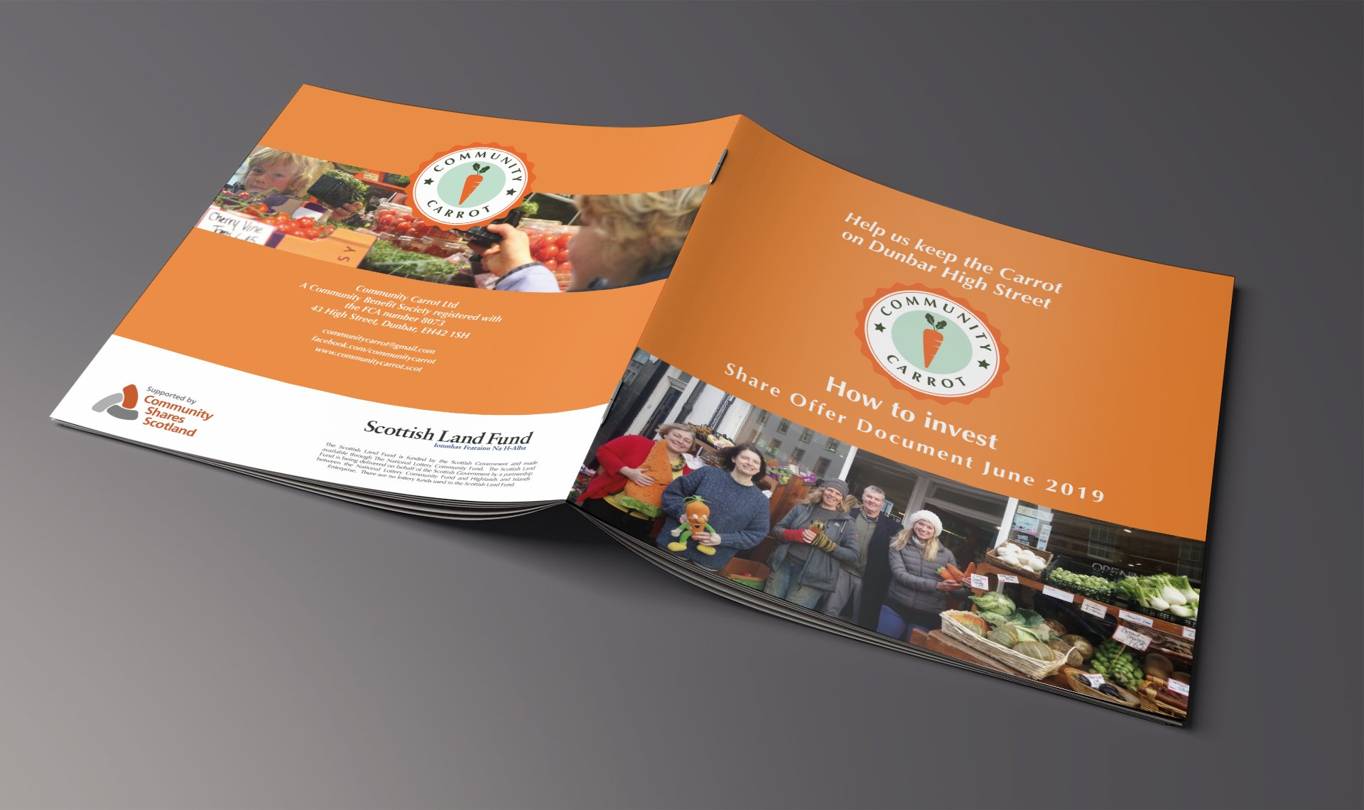 Community Carrot leaflet for funding and shares