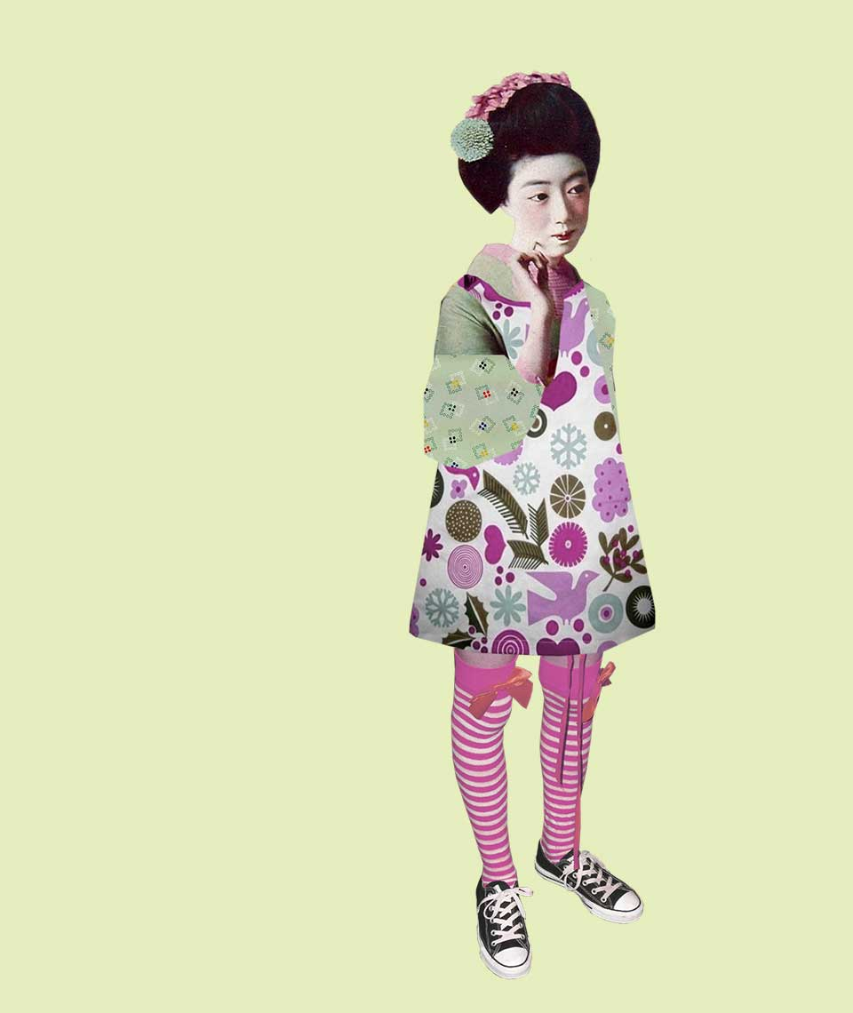 Geisha Girl character Luna wearing candy striped socks and Converse shoes