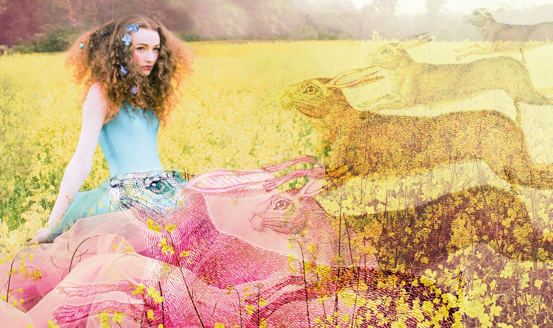 young woman in a turquoise sits in a field of yellow flowers with hares superimposed over the image