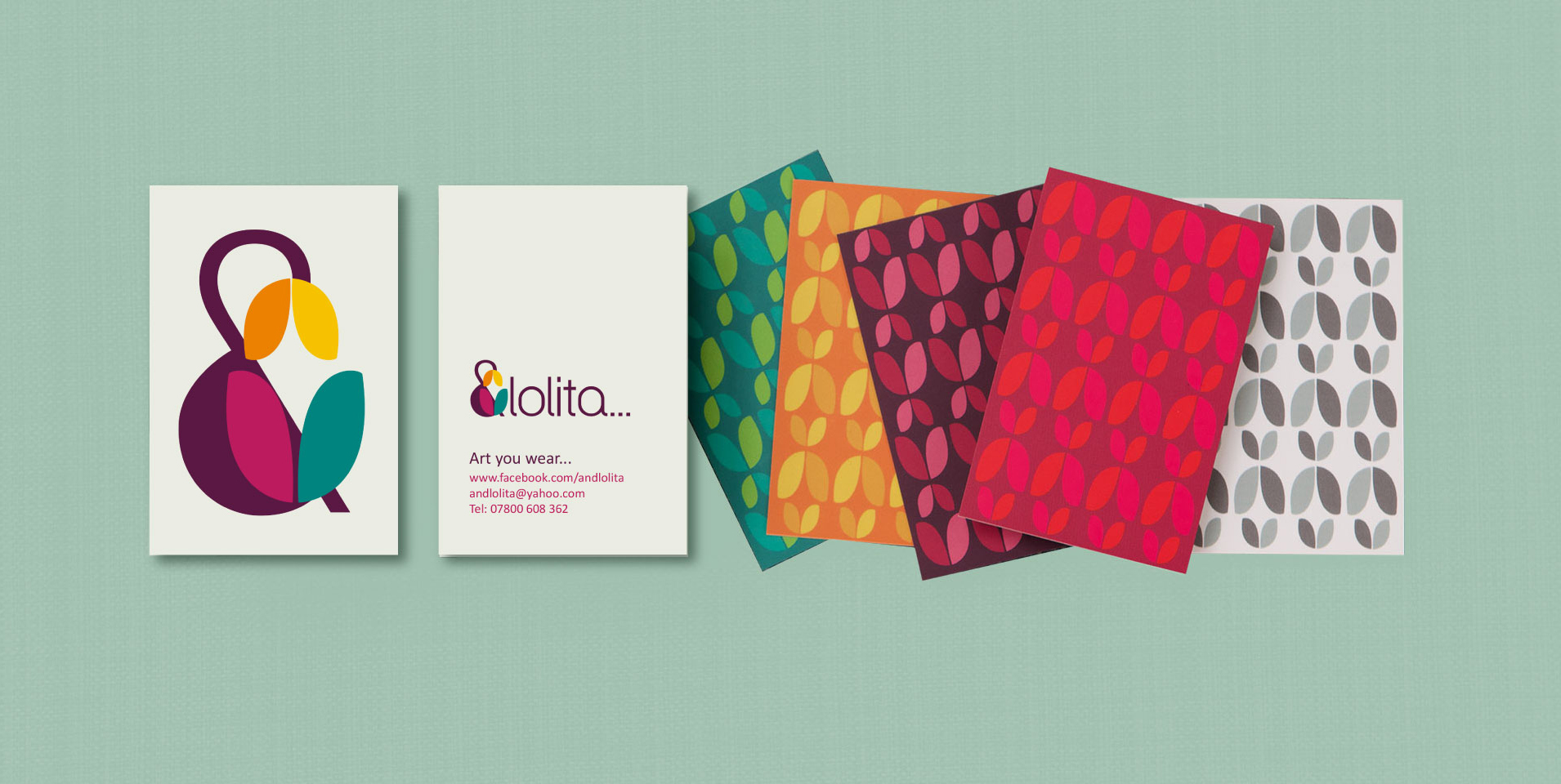 &Lolita Business cards with colourful graphic tulip design