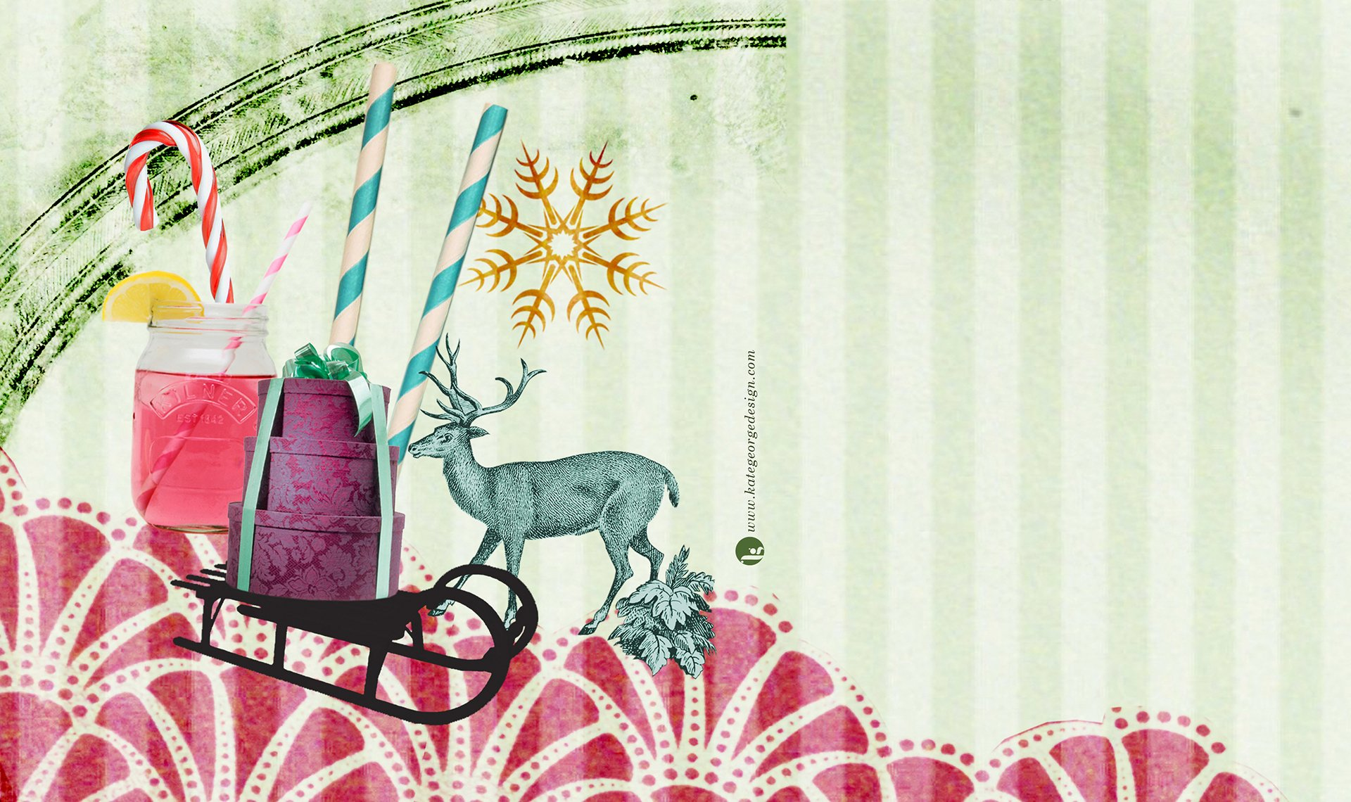 Montpeliers Christmas promotional artwork featuring stags, candy striped straws, sledges, gifts and drinks