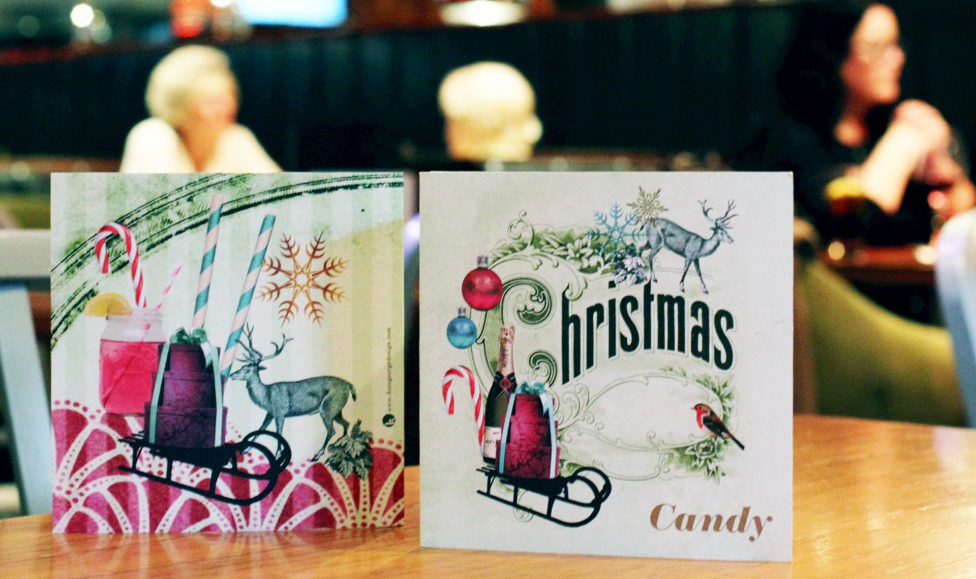 Candy bar vintage inspired Christmas drinks menus