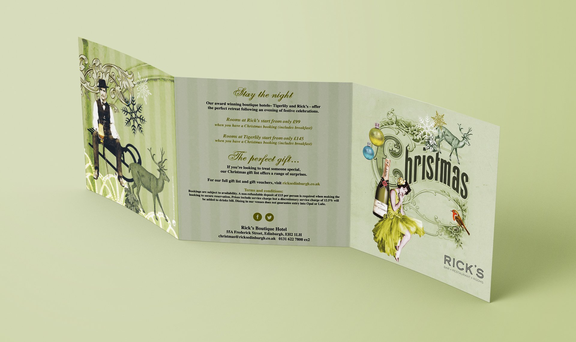 Rick's vintage inspired Christmas drinks menus