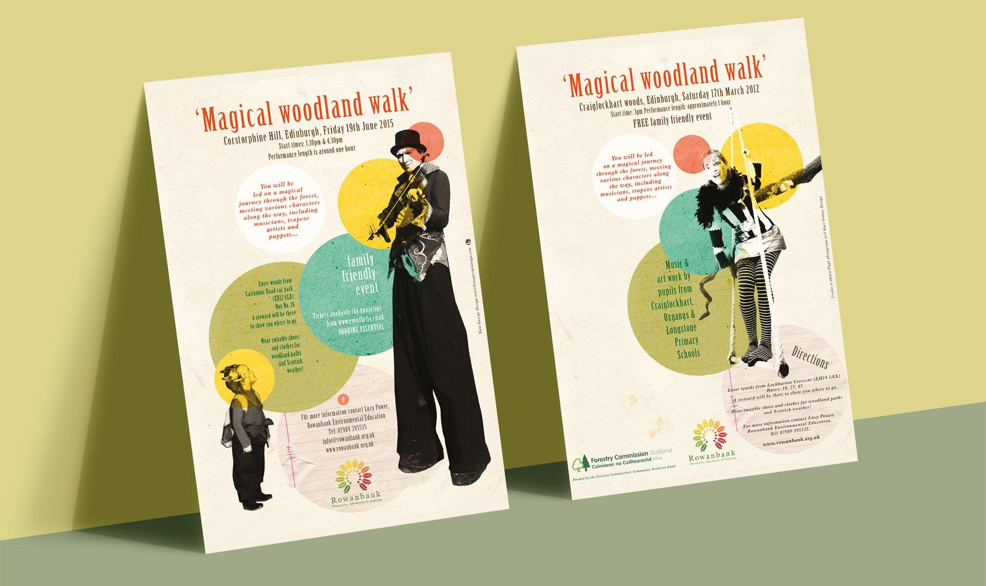 Rowanbank Environmental Arts flyers for Magical Woodland walks