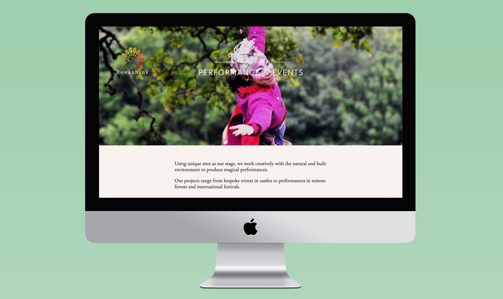 Rowanbank Environmental Arts Web design Image on an iMac Screen