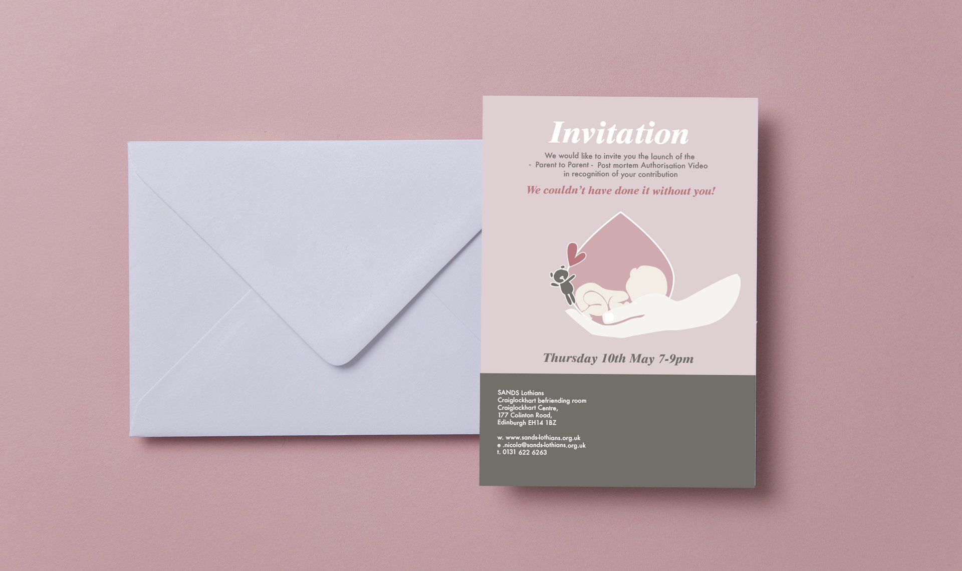 Invitation to Sands 'Parent to Parent' launch night concerning stillbirth and loss of child during pregnancy