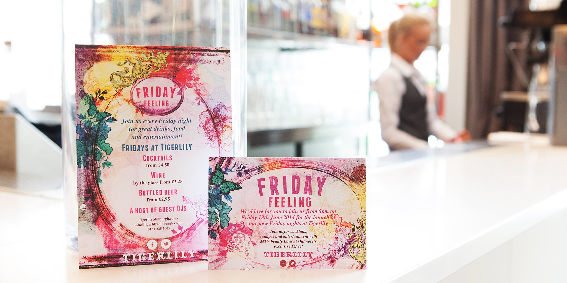 Beautiful floral inspired leaflets for Tigerlily Edinburgh 'Friday Feeling ' promotion nights