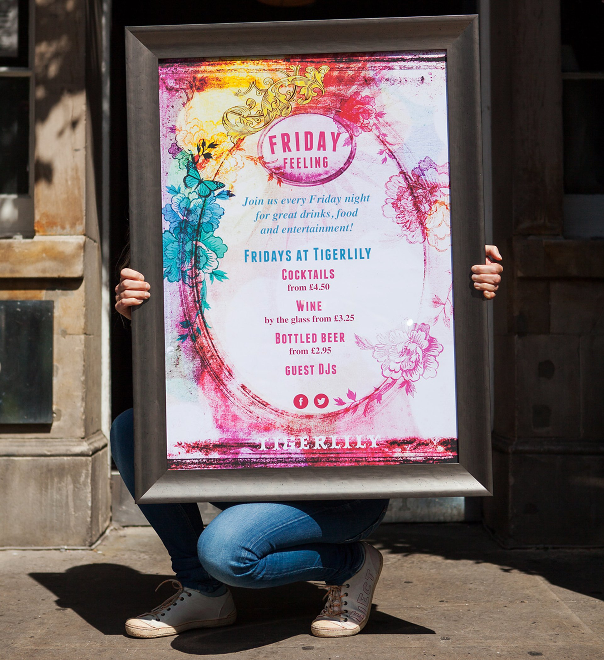 Poster for Tigerlily Edinburgh's 'Friday Feeling' showing cocktail offers and drinks deals