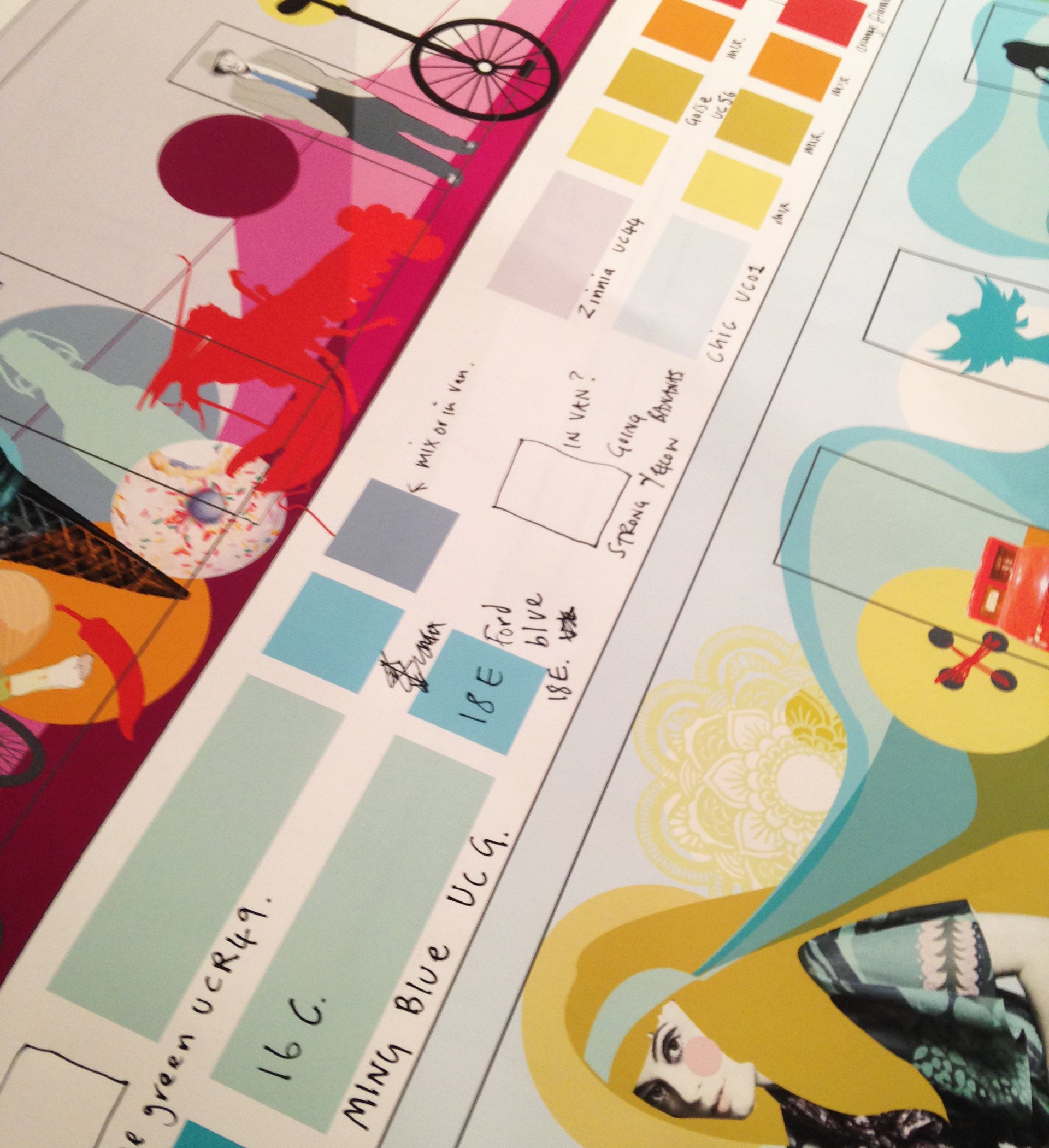 Colour chart and planning for Gifford Park mural