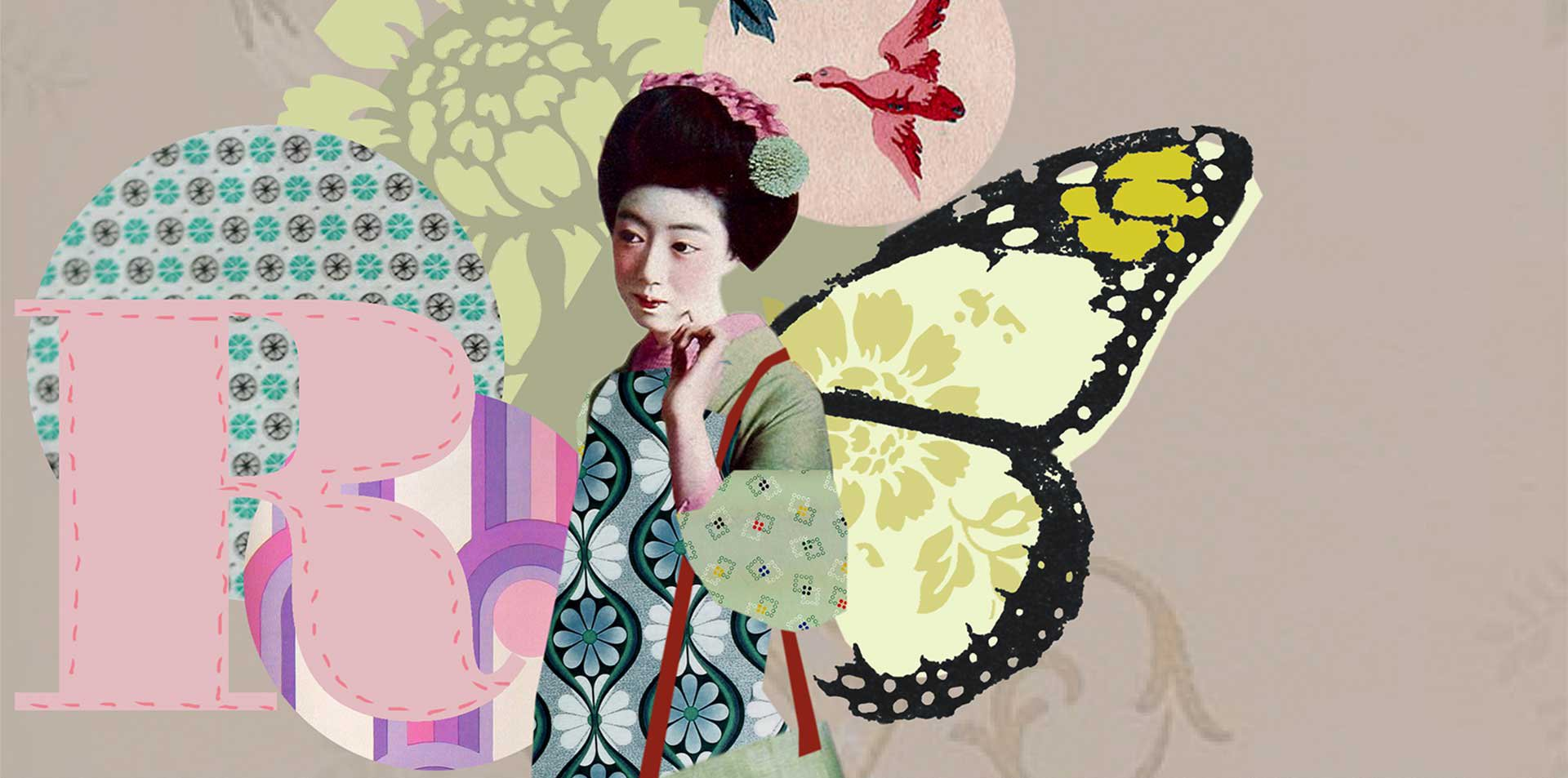 animated character of Geisha Girl with butterfly wings